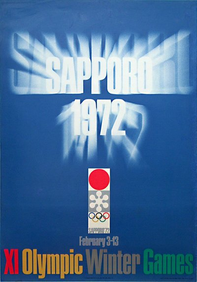Sapporo '72  - XI Winter Olympic Games - Japan original poster designed by Gan Hosoya