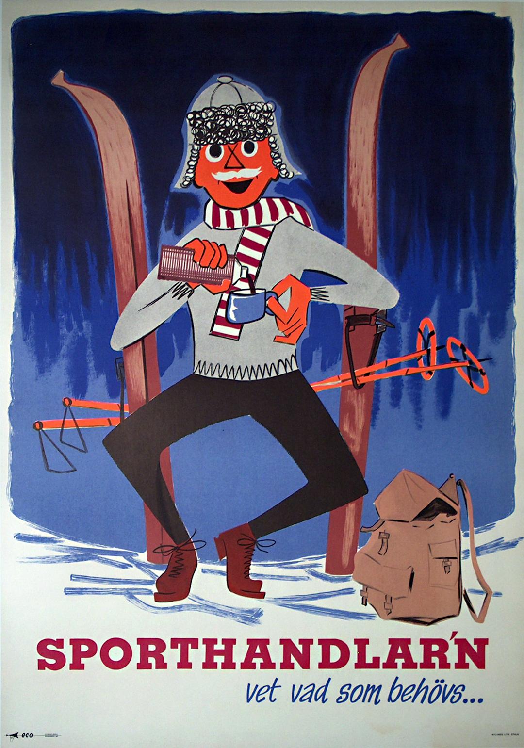 original vintage poster sporthandlarn sweden ski