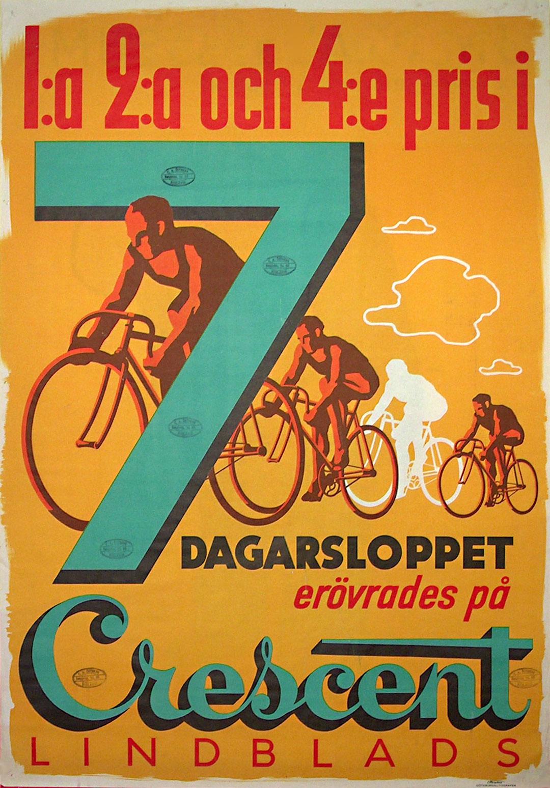 Original Vintage Poster Crescent Lindblads Bicycle Poster For Sale At Posterteam Com