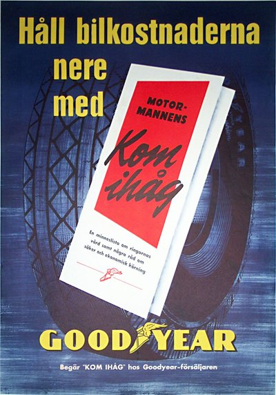 Goodyear Tires original poster designed by Ervaco (Erwin Wasey & Company)