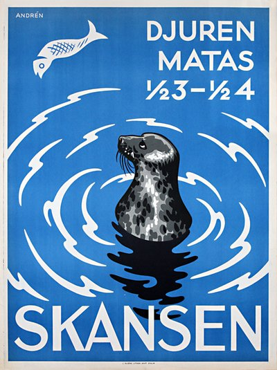 Skansen Zoo Sweden - Feed the Seals original poster designed by Andrén, Erik (1904 - 1984)