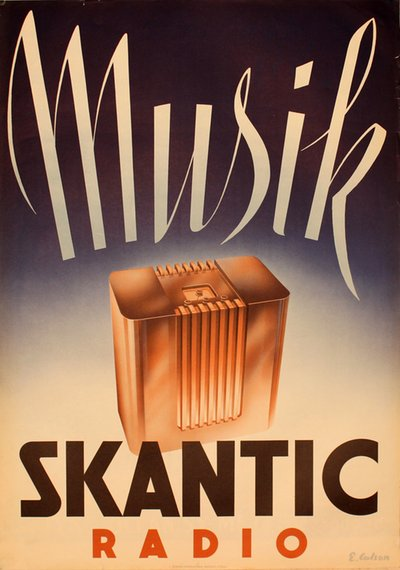 Skantic Radio original poster designed by E. Carlson