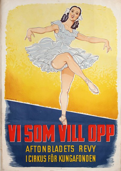 Vi som vill opp - Ballet dancer original poster designed by Reisner