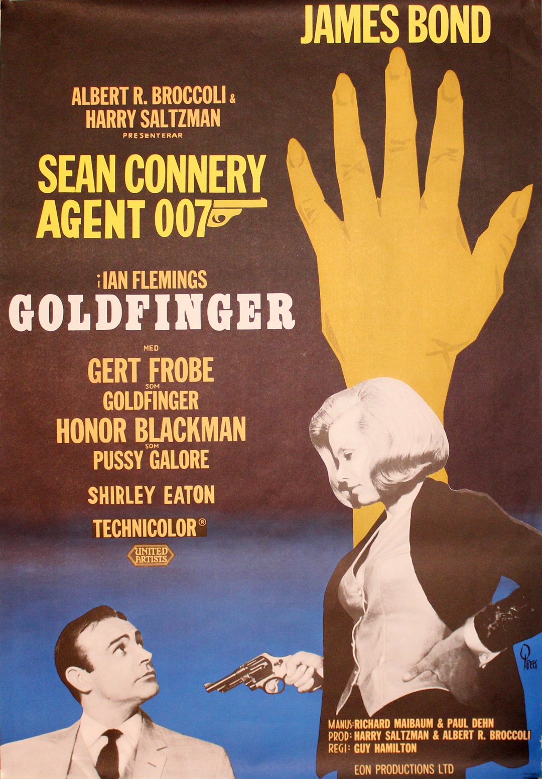Original Vintage Poster 007 Goldfinger James Bond For