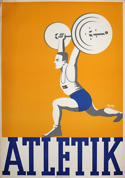 Atletik - Athletics Weightlifting poster designed by Leander, (Gus) Gustav Egron (1909-1980)