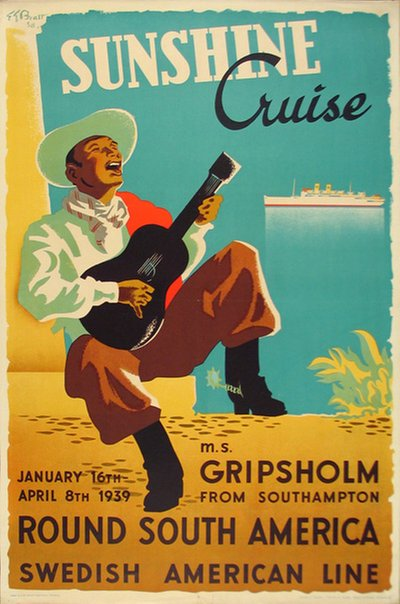 Swedish American Line Sunshine Cruise round South America Bratt, Ernst Gustav (1912-1987)