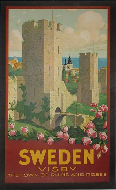 Sweden - Visby poster designed by Ivar Gull