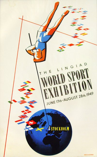 Lingiad World Sport Exhibition - Stockholm original poster designed by Anders Beckman