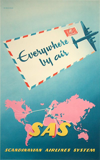 SAS - Everywhere by air poster designed by Hinnerud, Tor (1920 - )