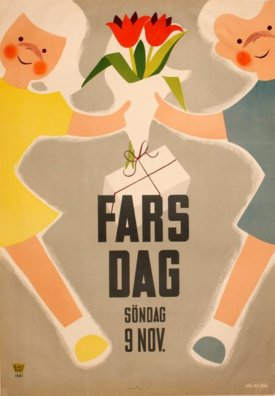 Fars Dag - 9th November 1947 original poster designed by Sven Melberg