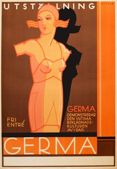 Germa - Women Lingerie Underware Exhibition original poster designed by Ettler, Max (1879-1952)